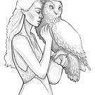 Girl and owl - line art pencil sketch by MadliArt