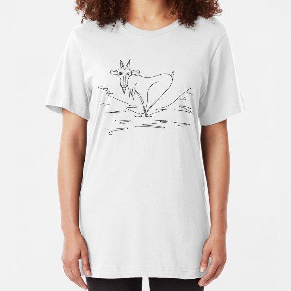Ziege Schwarz Weiß Slim Fit T-Shirt