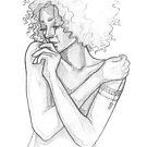 Pretty black girl - line art pencil sketch by MadliArt