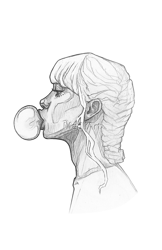 Girl with a bubble gum - line art pencil sketch by MadliArt