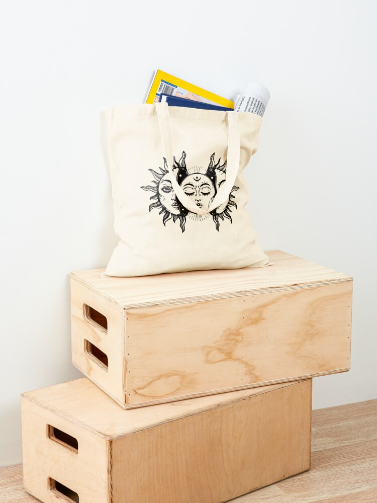 Alternate view of Sun and Moon Tapestry. Tote Bag