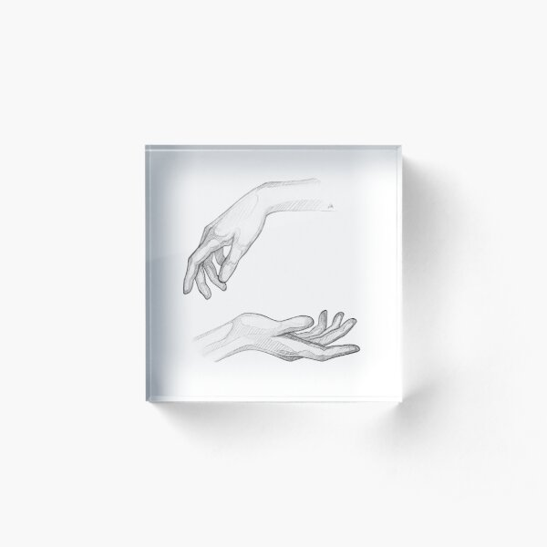 Hands - Monochromatic Pencil Line Sketch - Drawing by MadliArt Acrylic Block