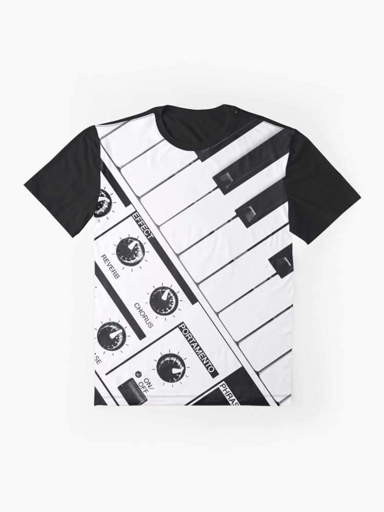 Alternate view of Synthesizer In Black & White Graphic T-Shirt