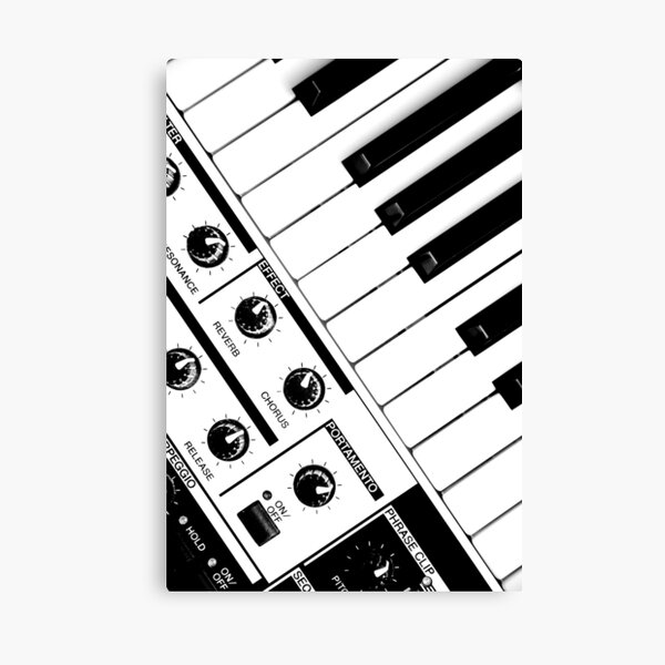 Synthesizer In Black & White Canvas Print