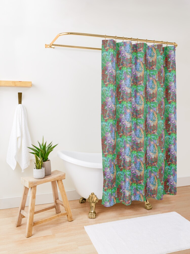 Alternate view of Archeology of the Unicorn Shower Curtain