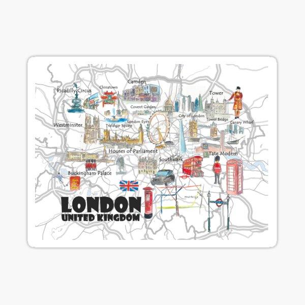Affiche de voyage illustrée de Londres au Royaume-Uni Sticker
