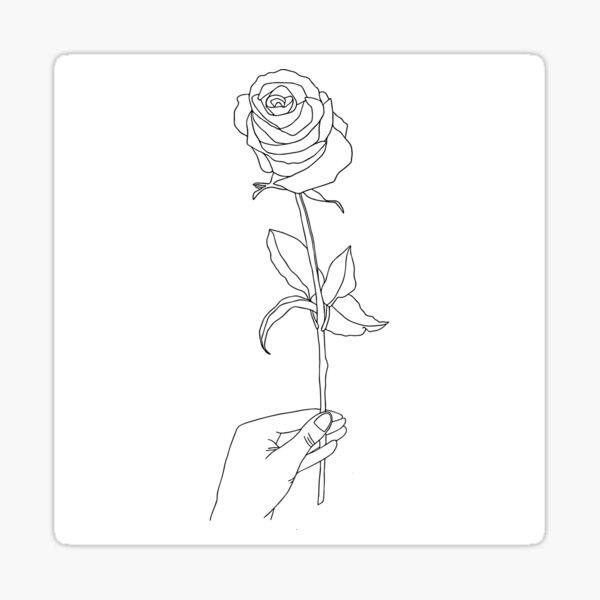 Rose flower in hand minimalist illustration Sticker