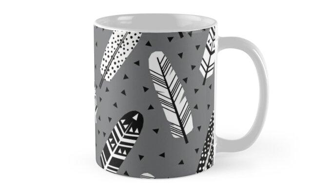 Tazas «Pluma geométrica gris carbón neutro moderno patrón de ...