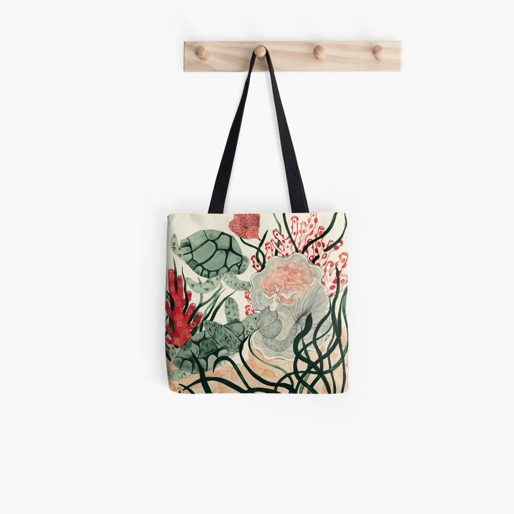 Turtles, red fish and a mermaid under the sea Tote Bag