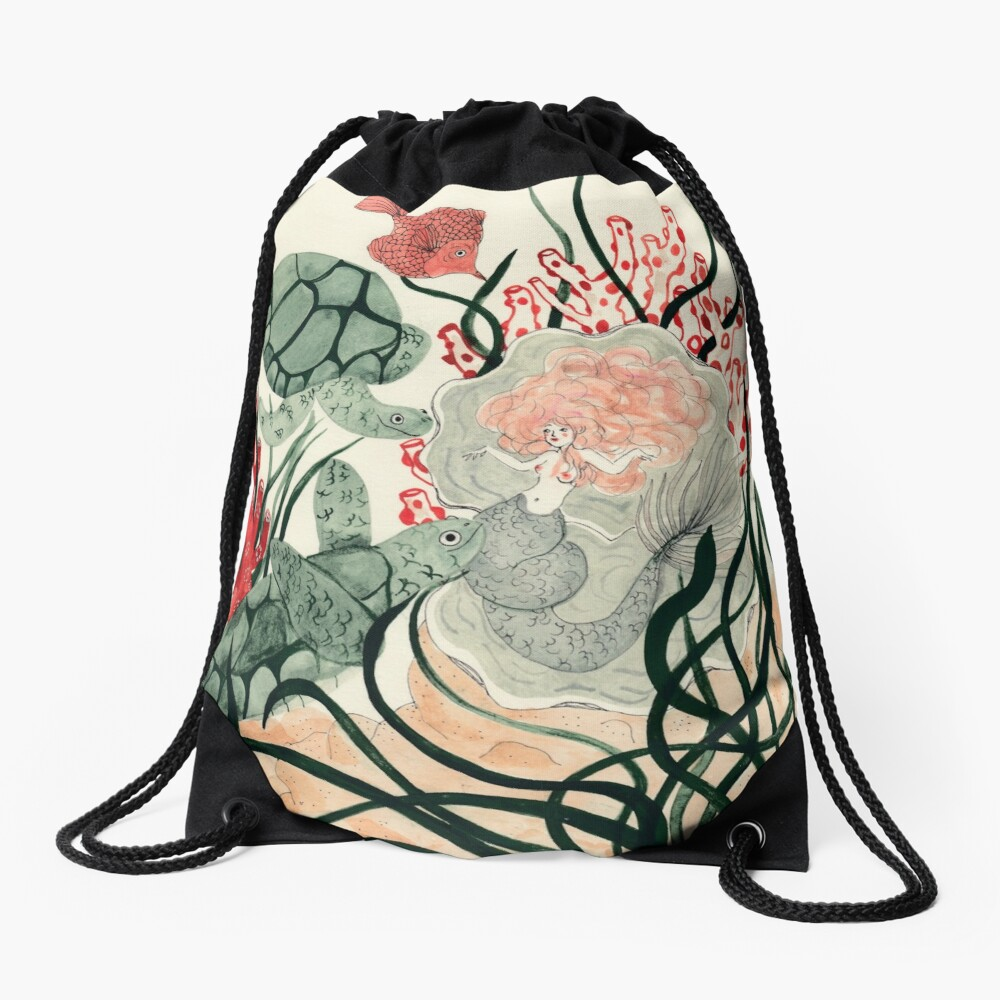 Turtles, red fish and a mermaid under the sea Drawstring Bag