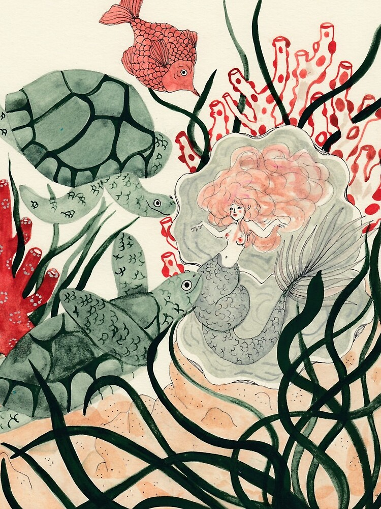 Turtles, red fish and a mermaid under the sea by spoto