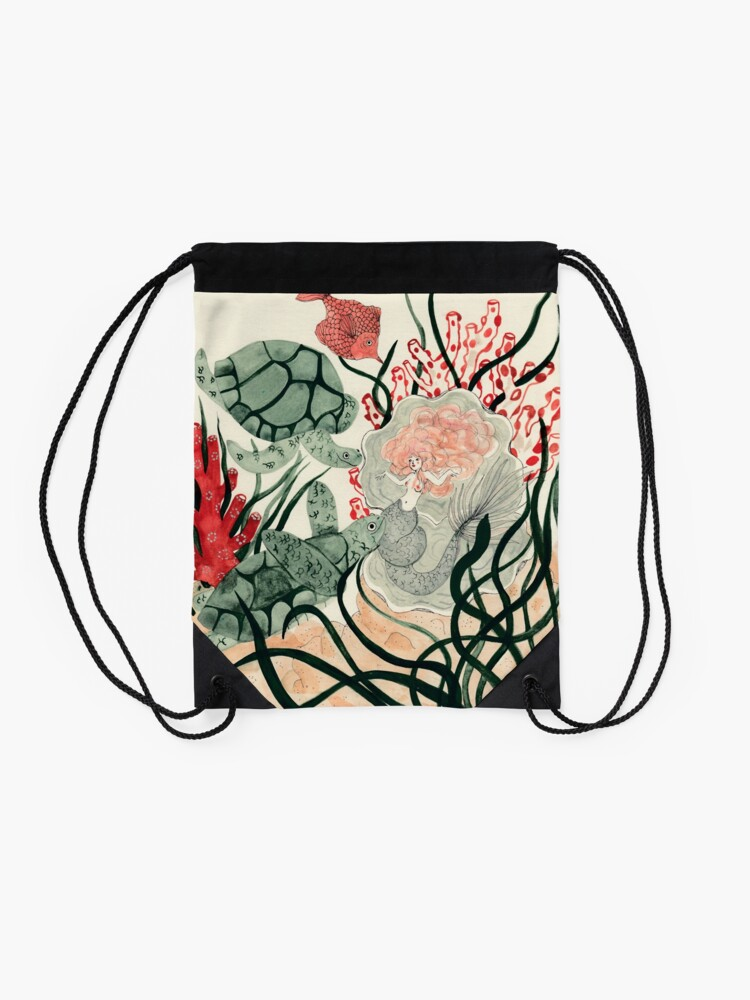 Alternate view of Turtles, red fish and a mermaid under the sea Drawstring Bag