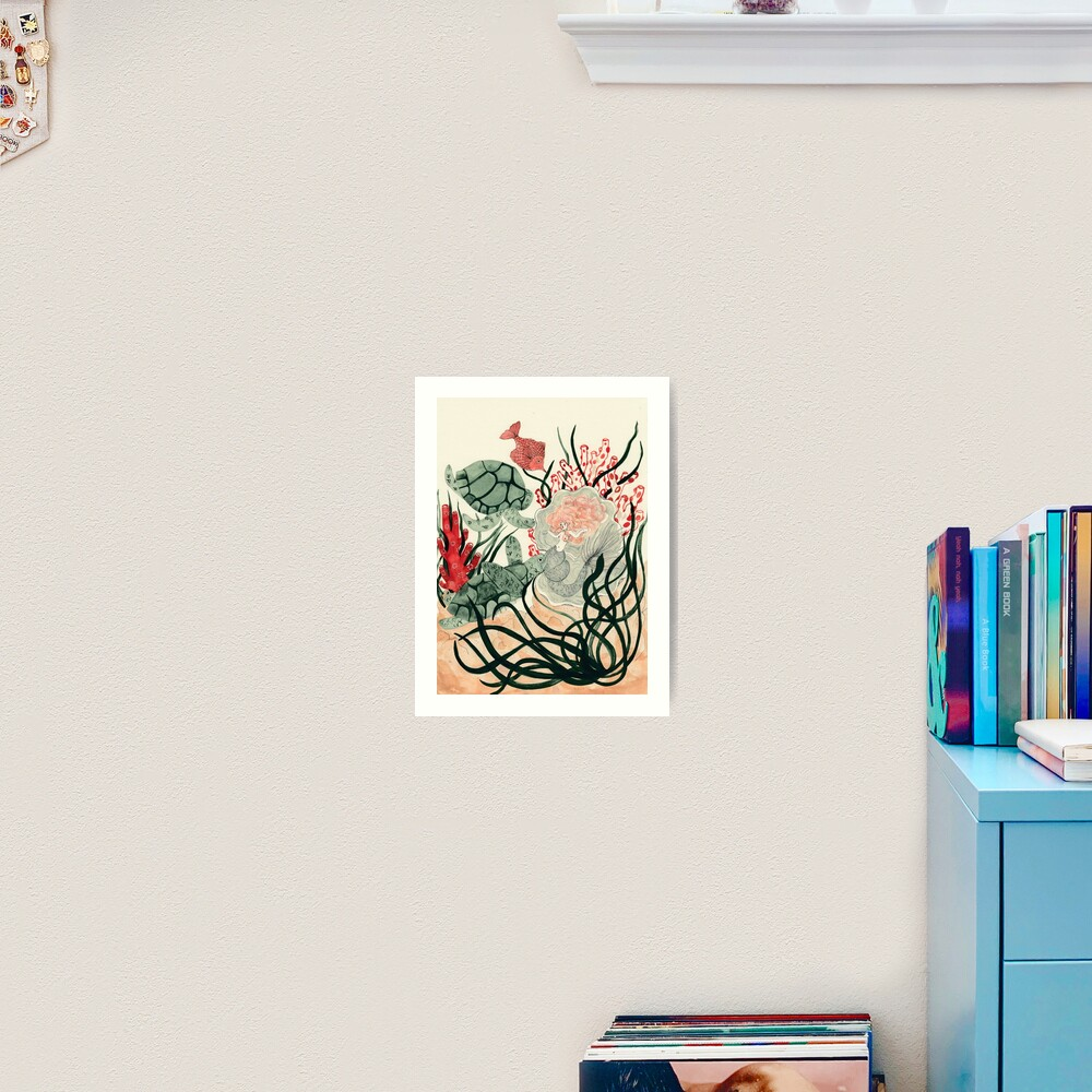 Turtles, red fish and a mermaid under the sea Art Print