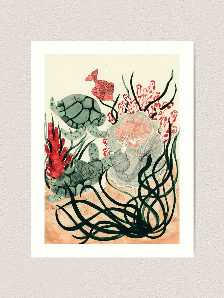 Alternate view of Turtles, red fish and a mermaid under the sea Art Print
