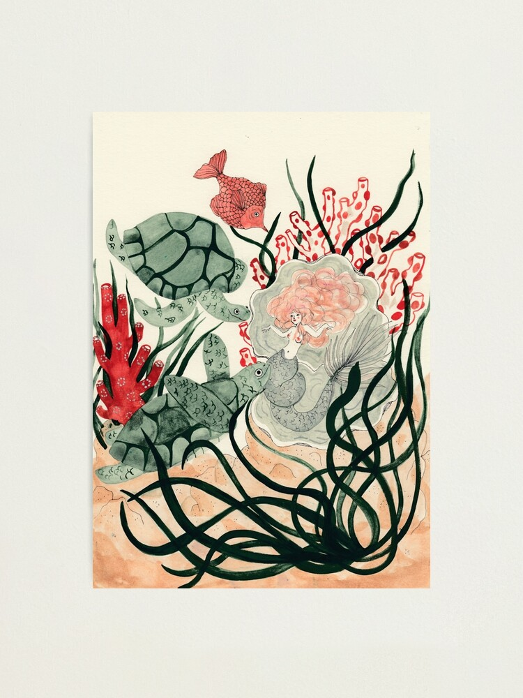 Alternate view of Turtles, red fish and a mermaid under the sea Photographic Print