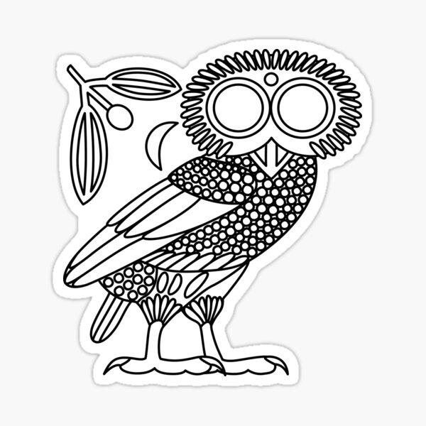 Owl of Athena [White + Wreath and Crescent] Sticker