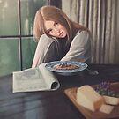 Cute girl at breakfast - Digital Art by MadliArt