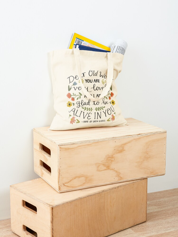 "Alternate view of Anne of Green Gables ""Dear Old World"" Quote Tote Bag"