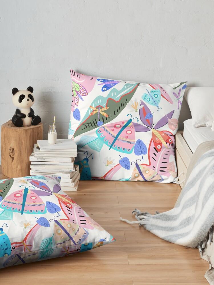 Alternate view of Butterflies and Flowers Floor Pillow