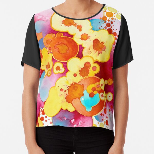 Boom! Everything - Watercolor Painting Chiffon Top