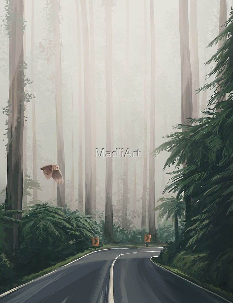 Forest road  - digital painting by MadliArt