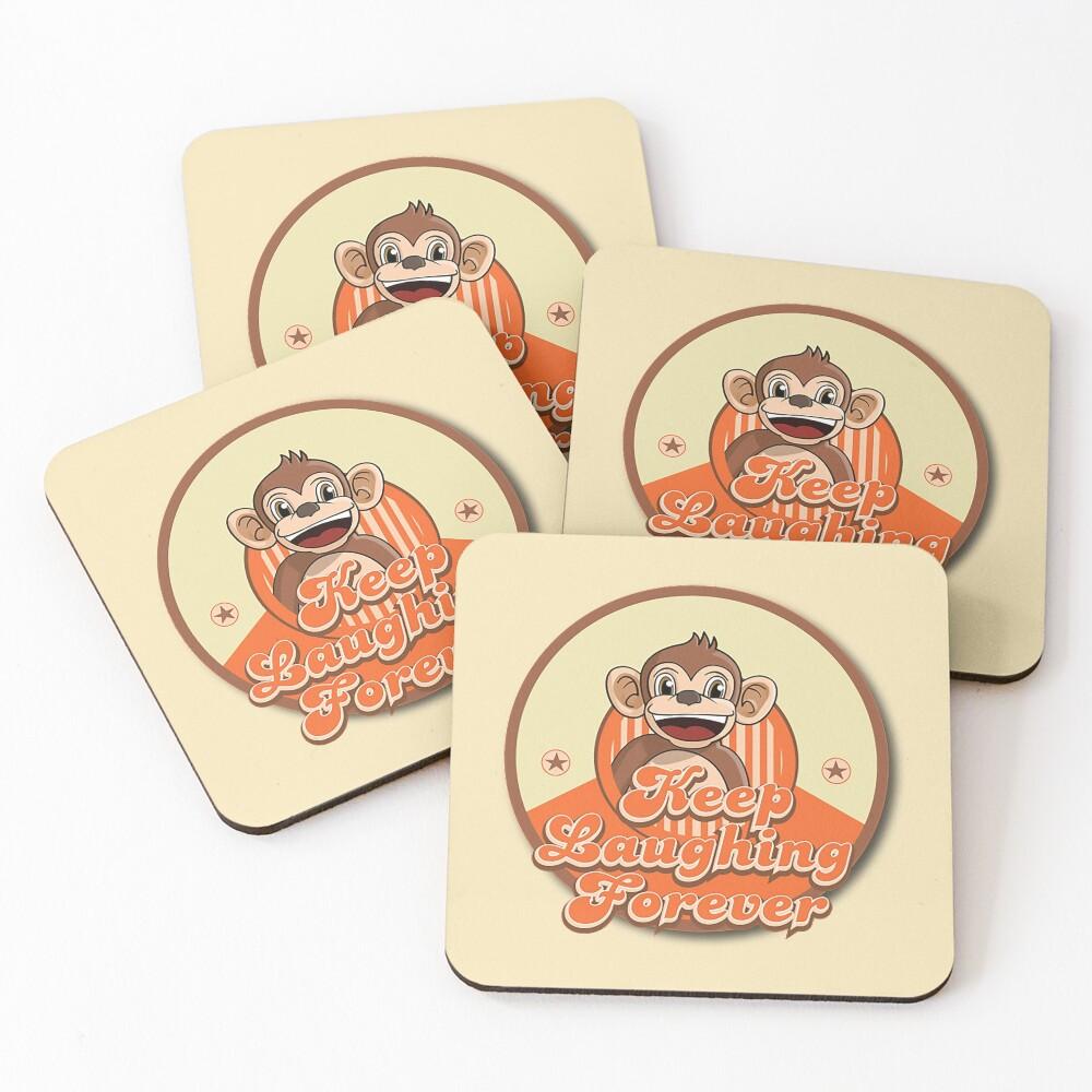 Keep Laughing Forever Retro Monkey Coasters (Set of 4)