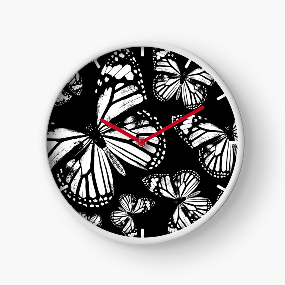 Monarch Butterflies | Monarch Butterfly | Vintage Butterflies | Butterfly Patterns | Black and White |  Clock
