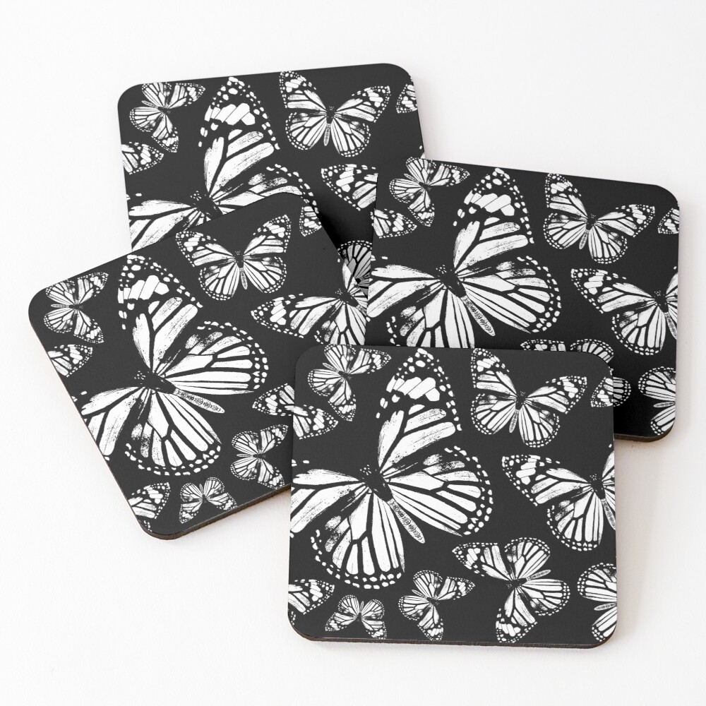 Monarch Butterflies   Monarch Butterfly   Vintage Butterflies   Butterfly Patterns   Black and White    Coasters (Set of 4)