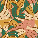 Monstera Leaves - Gold - Green - Pink by latheandquill