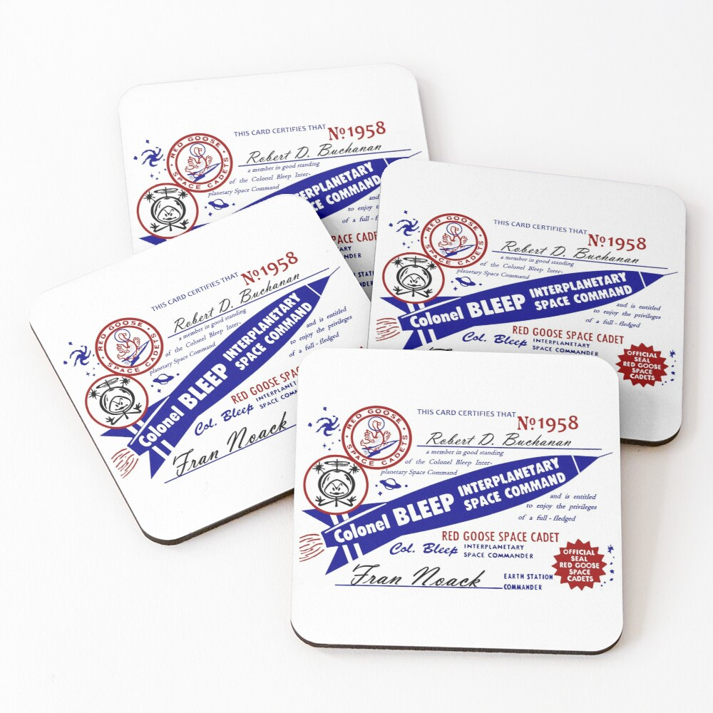 Colonel Bleep Interplanetary Space Command Membership Card Coasters (Set of 4)