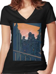 Cityscape in the Evening Women's Fitted V-Neck T-Shirt