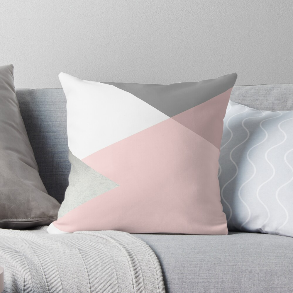 Geometrics - grey blush silver Throw Pillow