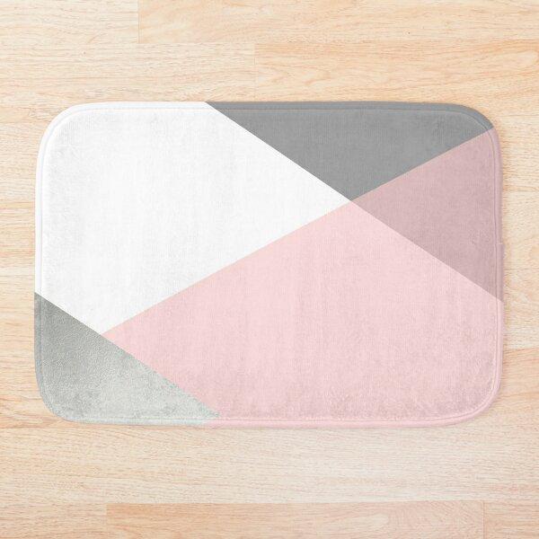 Geometrics - grey blush silver Bath Mat