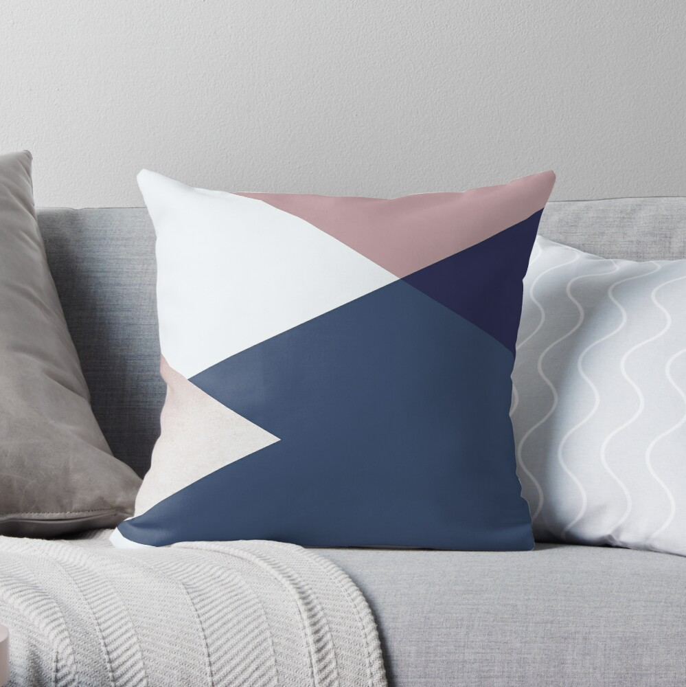 Geometrics - blush indigo rose gold Throw Pillow