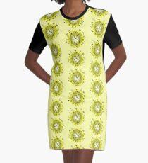 Flower Swirl - Yellow Graphic T-Shirt Dress