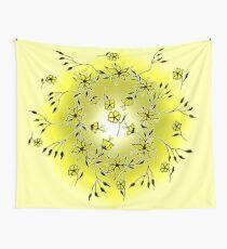 Flower Swirl - Yellow Wall Tapestry