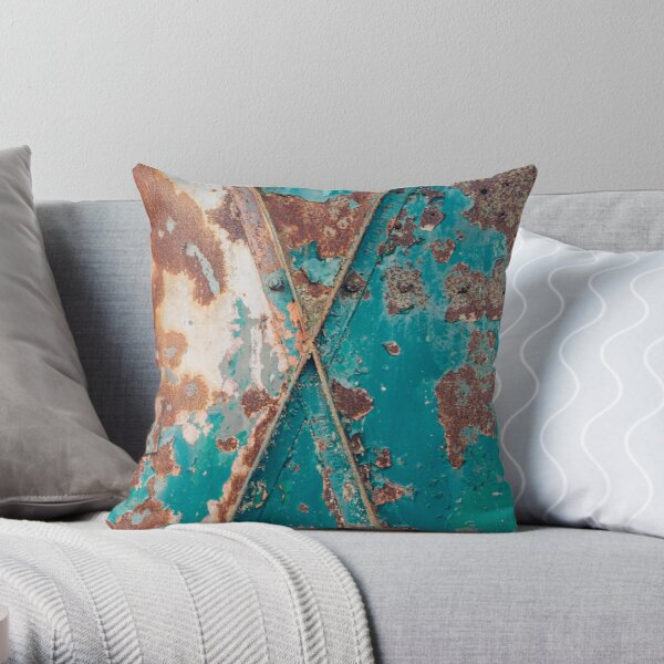 Teal and Rust Throw Pillow