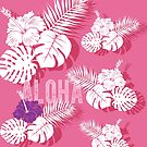 Tropical Hawaiian Pink Hibiscus Palm by blueidesign