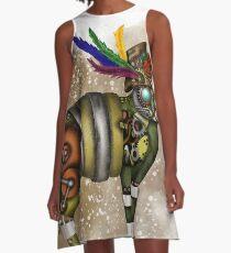 Steampunk Katze mit Hut A-Linien Kleid
