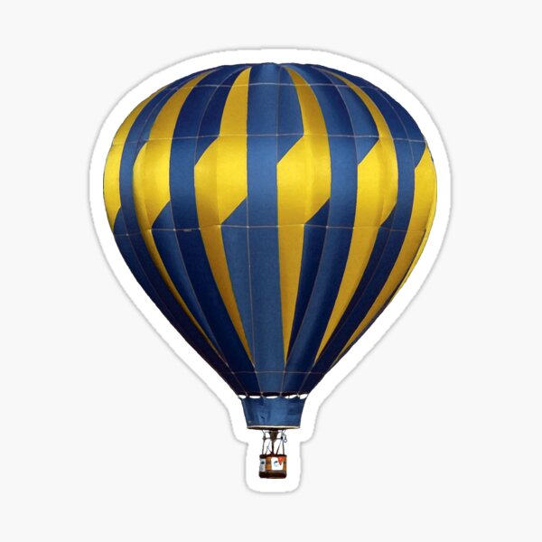 Blue and Yellow Hot Air Balloon Flying against a Blue Sky Sticker