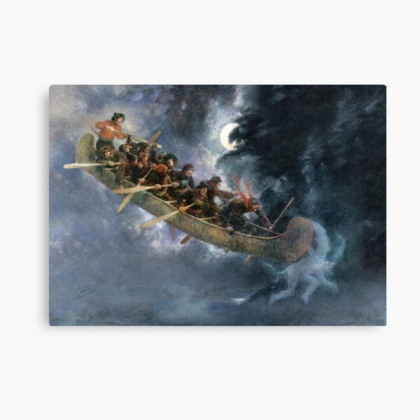 La Chasse-galerie The Bewitched Canoe The Flying Canoe French-Canadian Quebec legend painting by Henri Julien HD HIGH QUALITY ONLINE STORE Canvas Print