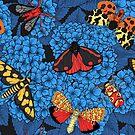 Moths on blue hydrangea by Katerina Kirilova