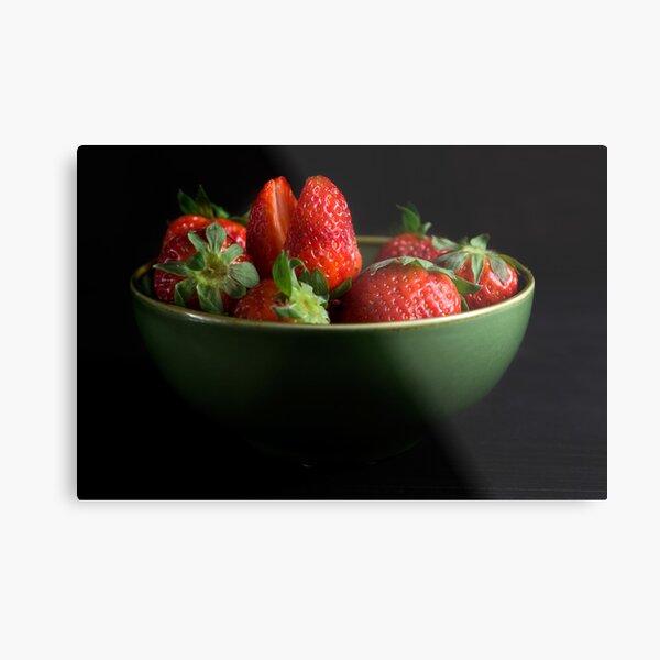 Strawberries Peering From Bowl Metal Print