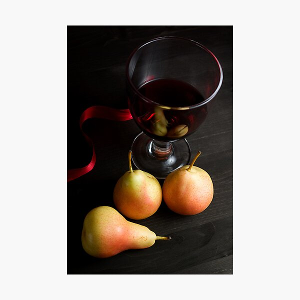 Red Wine and Pears Photographic Print