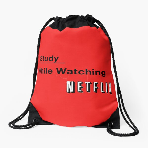 I study while watching netflix Drawstring Bag