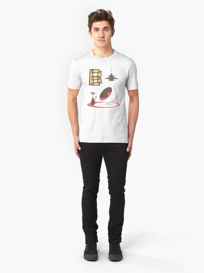 Alternate view of Mid Century Modern Cat and Letter B Slim Fit T-Shirt