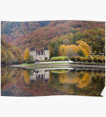 Rich Fall Colors Reflected... Chateau de Gibanel Poster
