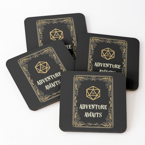 Adventure Awaits D20 Dice Tabletop RPG  Coasters (Set of 4)
