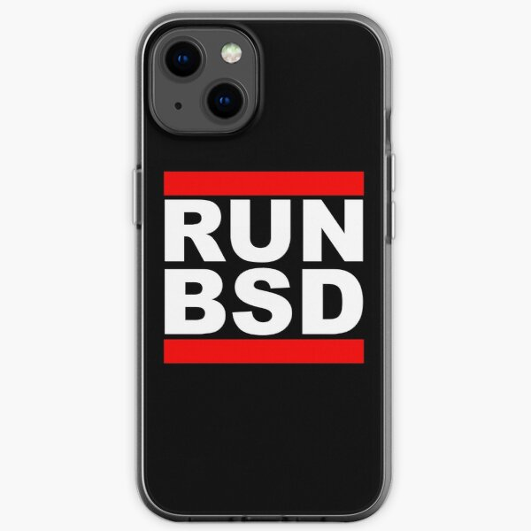 RUN BSD - Cool White/Red Design for Unix Hackers & Sysadmins iPhone Soft Case