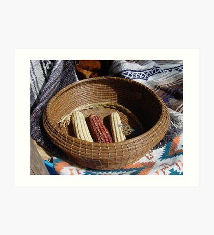 Pine Needle Basket and Indian Corn Art Print